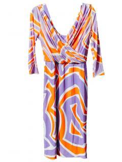 Emilio Pucci Silk Printed Draped Dress
