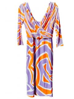 Emilio Pucci Silk Printed Draped Dress