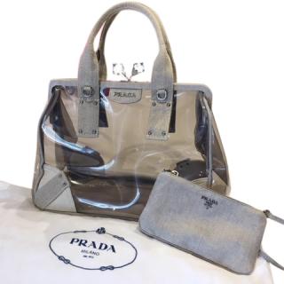 Prada Canvas Misto Lino Plex Bag with Crystal Kiss Lock