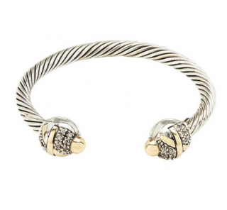 Grazia Papilio London 14kt Gold & Zirkonia Criss-Cross Cable Bracelet