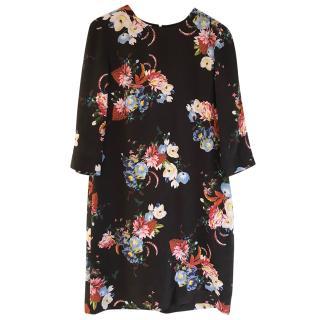 Erdem 100% Silk Black Floral Dress