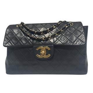 Chanel Black Quilted Lambskin Maxi Jumbo Flap Bag