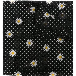 Saint Laurent black wool daisy print scarf