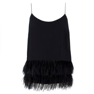 Club Monaco Black Ostrich Feather Cami Top