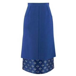 Fendi Blue Printed SIlk Underlay Midi Skirt