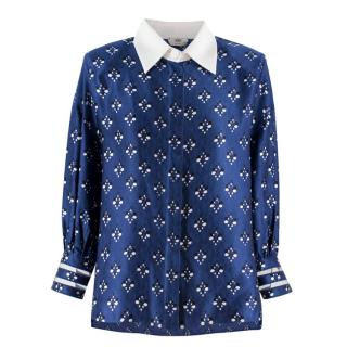 Fendi Blue Silk Printed Blouse