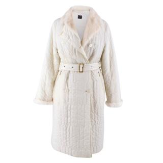Louis Feraud White Fur Collar Coat