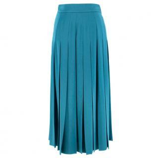 Fendi Turquoise Pleated Midi Skirt