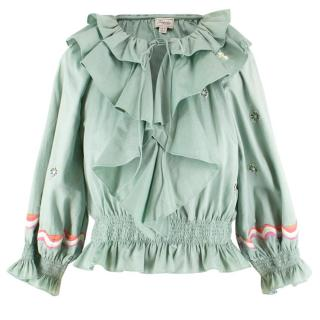 Temperly London Embroidered Ruffle Top