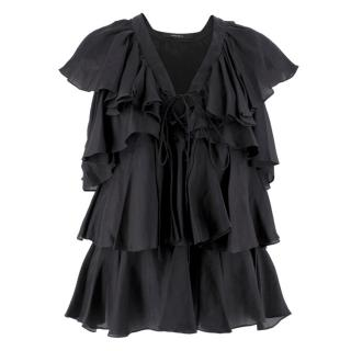 Givenchy Black Silk Ruffle Top