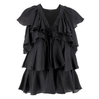Givenchy Black Silk Ruffle Top