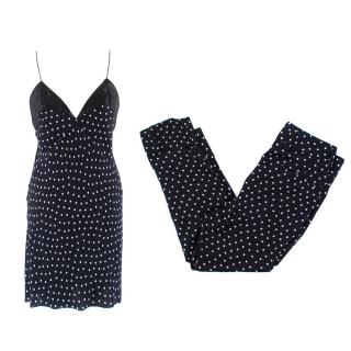 Haider Ackermann Navy Polkadot Trouser and Top Set