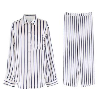Asceno White Striped Silk Pyjamas