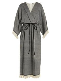 Adam Lippes Fringed Wool & Cashmere-Blend Wrap Dress