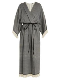 Adam Lippes Fringed Wool & Cashmere-Blend Wrap Dress