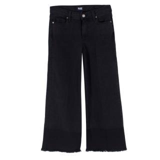 Paige Black Raw Hem Wide Leg Jeans