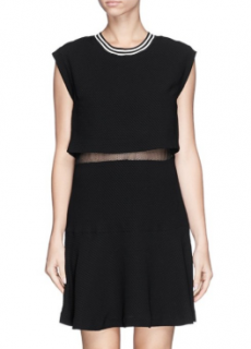 Sandro 'Raoule' Mesh Layer Textured Crepe Dress