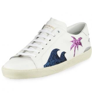 Saint Laurent white court sneakers
