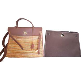 Hermes 2 in 1 Vibrato Leather and Canvas Herbag