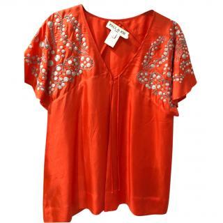 Paul & Joe silk orange  top