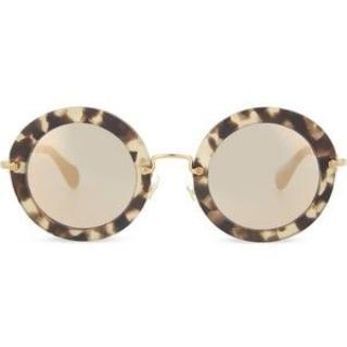 Miu Miu SMU13N Havana Sand Dark Brown Round Sunglasses