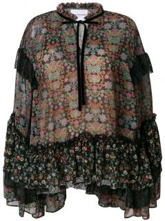Perseverance London Mixed Paisley Print Ruffle Blouse