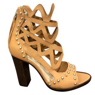 Sophia Webster Beige Studded Cage Effect Sandals