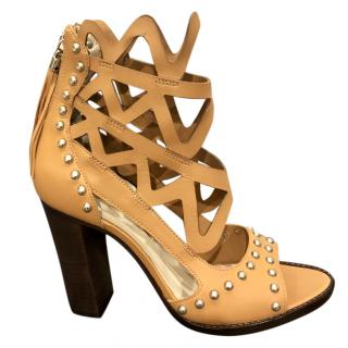 Sophia Webster Beige Studded Cage Effect Sandals