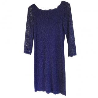DVF Blue Scalloped Corded Lace Dress