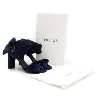 Neous Navy Velvet Block Heeled Sandals