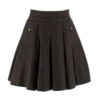 Dolce & Gabbana Dark Grey Pleated Wool Skirt