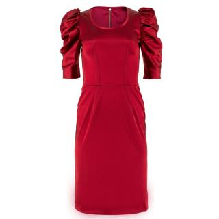 Dolce & Gabbana Red Ruffled Sleeve Midi Dress