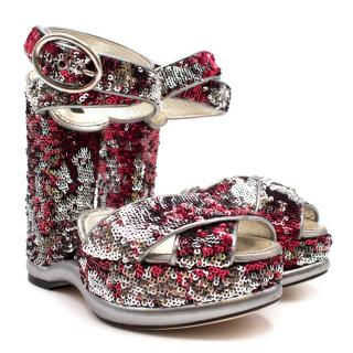 Dolce & Gabbana Sequin Wedged Sandals
