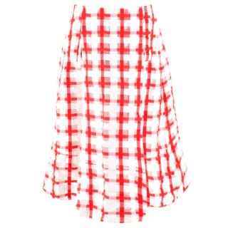 Marni Red and White Checked Midi Skirt