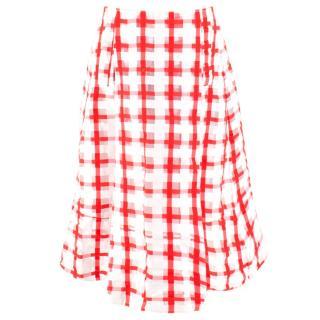 Marni Red and White Checked Midi Skirt