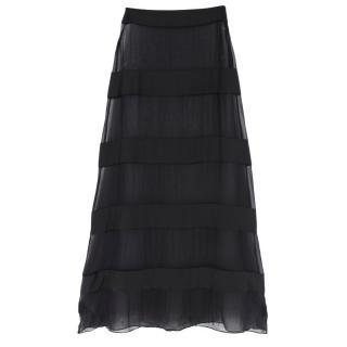 Adriana Degreas Mesh Striped Maxi Skirt