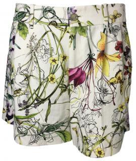 Gucci Floral Print Linen Shorts