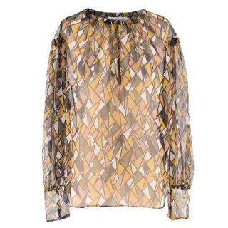 Yves Saint Laurent Silk Patterned Blouse