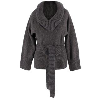 Alexander McQueen Chunky Knit Grey Wool Sweater