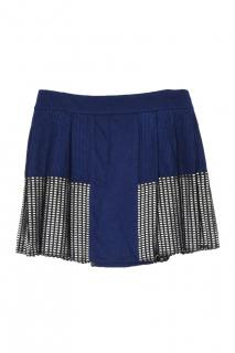 Paco Rabanne pleated metallic detailed wool mini skirt