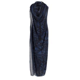 Donna Karen Blue Patterned Silk Beach Dress