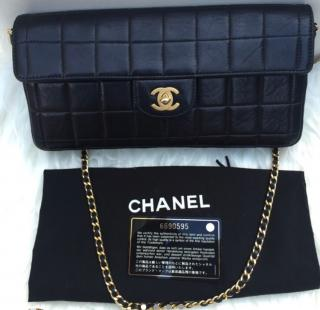 Chanel Quilted Lambskin East West Black Bar Flap Bag