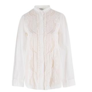 Chloe Sheer Embroidered White Shirt