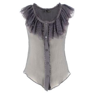 Alexander McQueen Grey Lace Ruffle Top