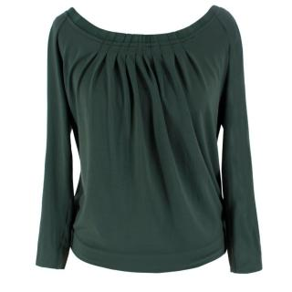 Alberta Ferretti Green Pleated Long Sleeve Top