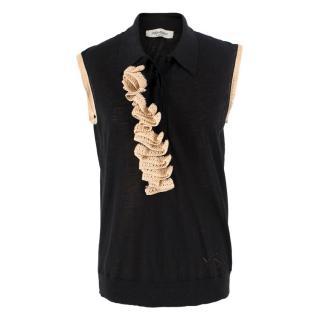 Yves Saint Laurent Knit Ruffle Polo Top
