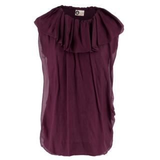 Lanvin Purple Ruffled Sleeveless Top