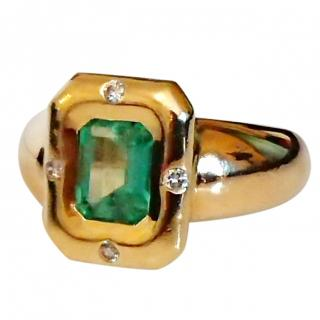 French Emerald & Diamond 18ct Gold Ring
