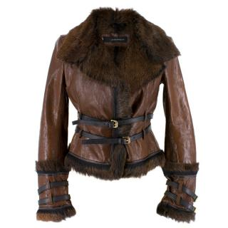 Dsquared2 Fur and Leather Biker Jacket
