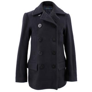 Polo Ralph Lauren Wool Navy Double Breasted Coat